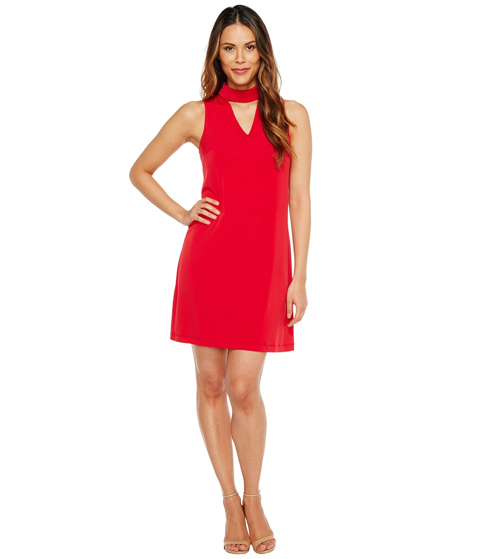 London Times - Sleeveless V-Neck Shift Dress w/ Mock Collar (Ribbon Red) Women's Dress