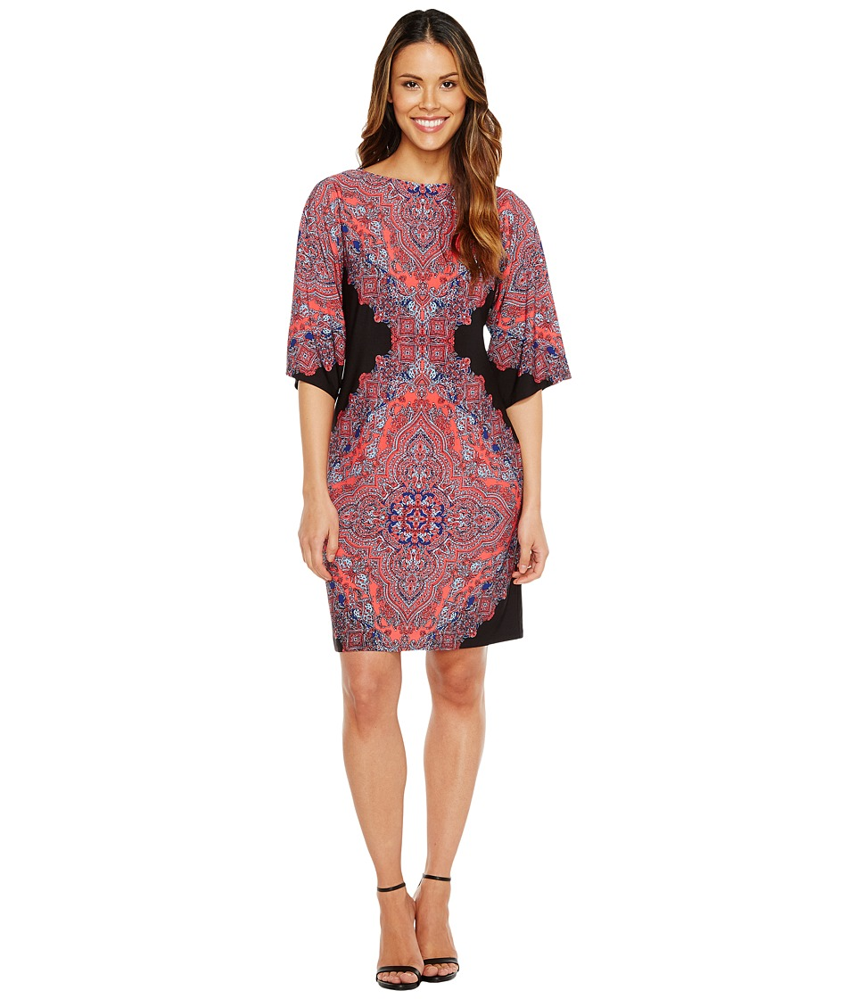 London Times Persian Medallion Kimono Shift Dress (Black/Coral) Women
