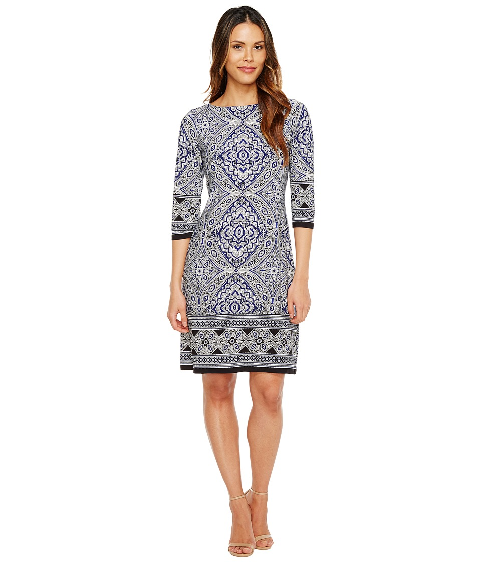 London Times 3/4 Sleeve Printed Shift Dress (Blue/Black) Women