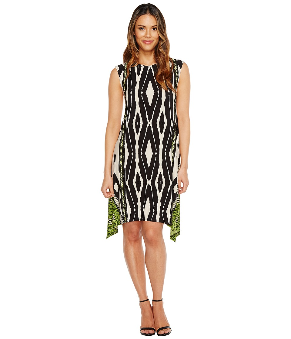 London Times Animal Stripe Jersey Shift Dress (Black/Green) Women