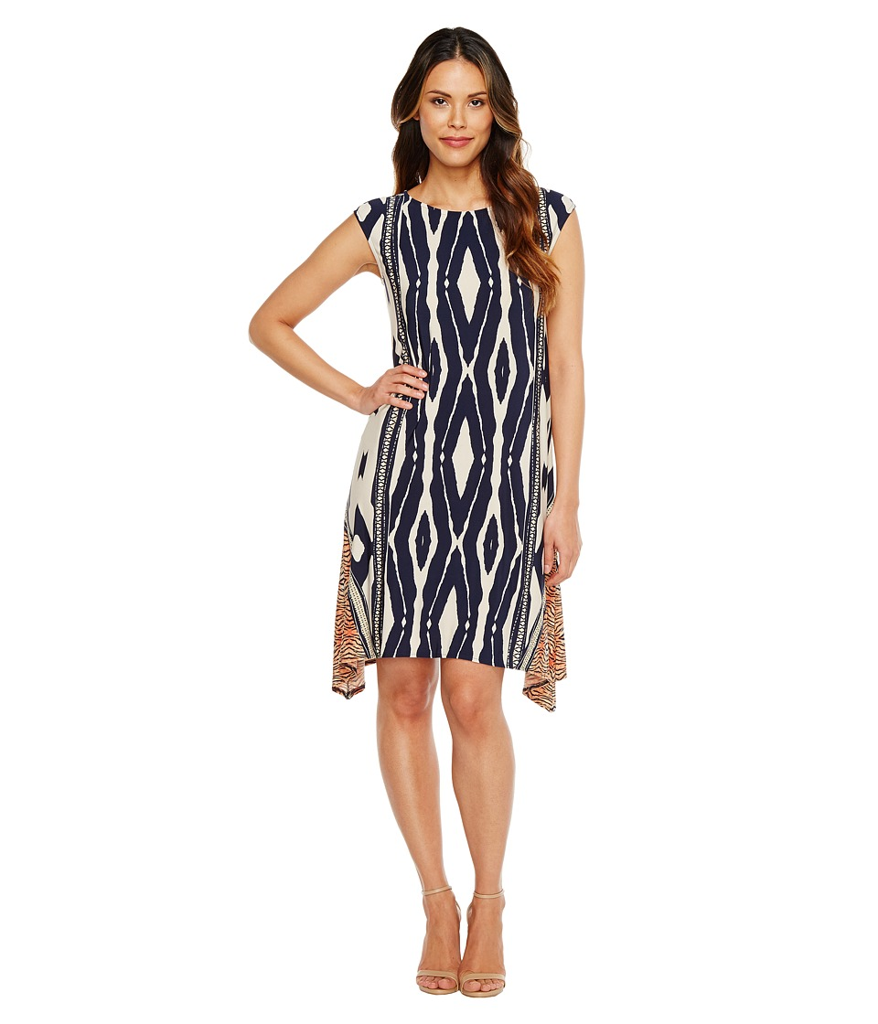 London Times Animal Stripe Jersey Shift Dress (Navy/Orange) Women