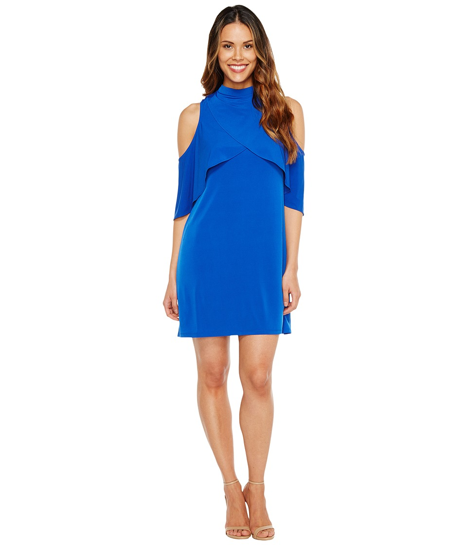 London Times MJ Tiered Shift Dress w/ Neckband (Azure Blue) Women
