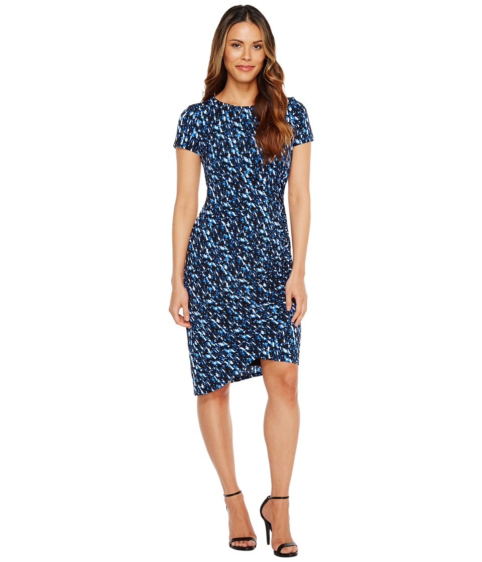 London Times Abstract Fleece Side Ruched Sheath Dress (Blue) Women