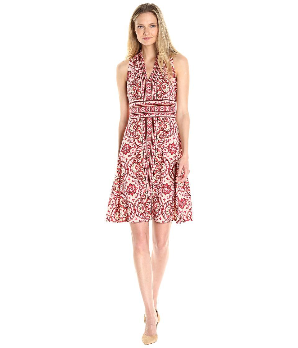 London Times Matte Jersey Halter Fit Flare Dress (Red) Women