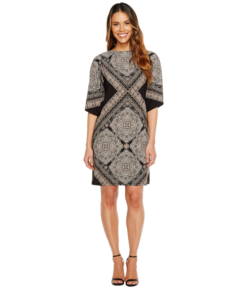 London Times Medallion Lace Kimono Shift Dress (Black/Taupe) Women