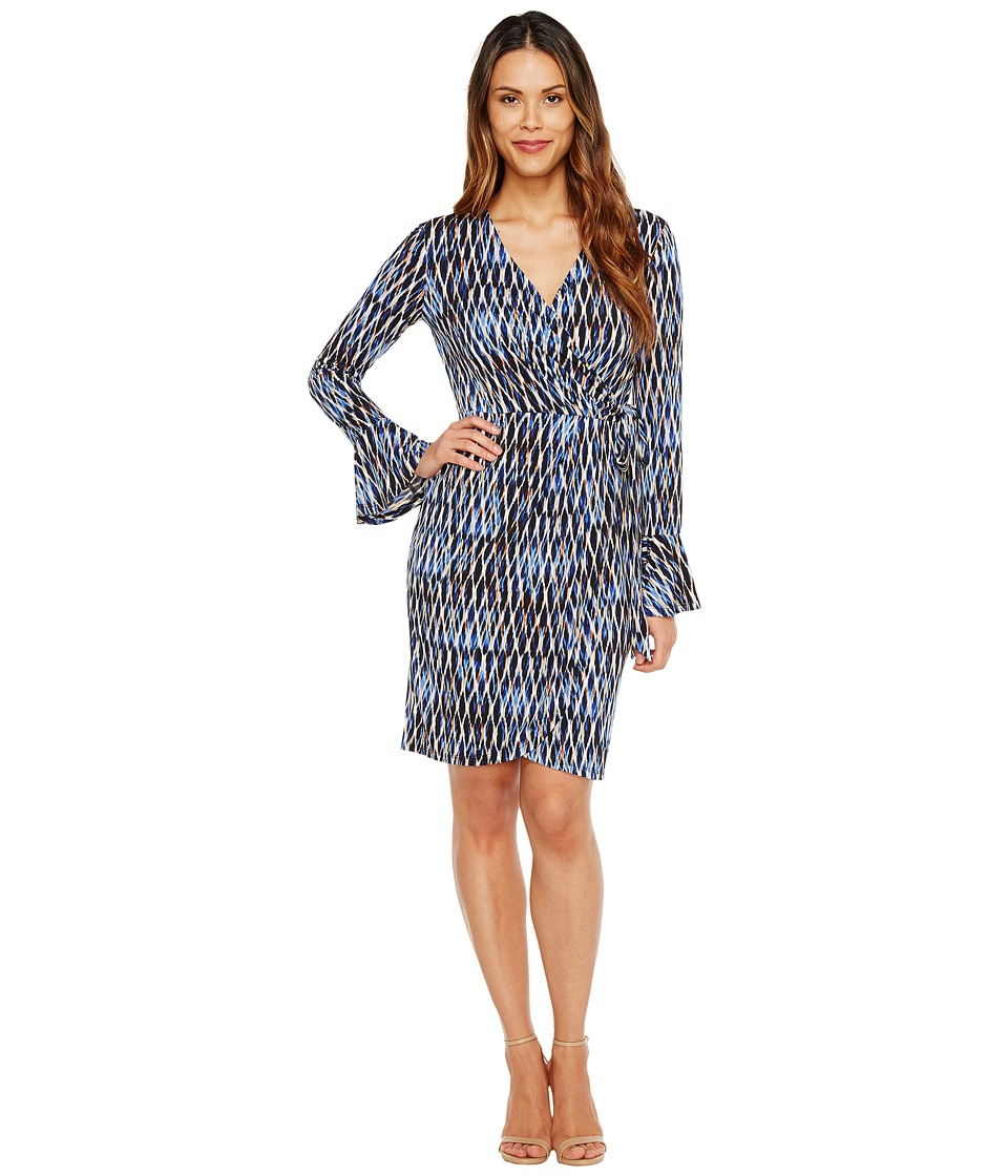London Times - Geo Wire Wrap Dress (Blue Multi) Women's Dress