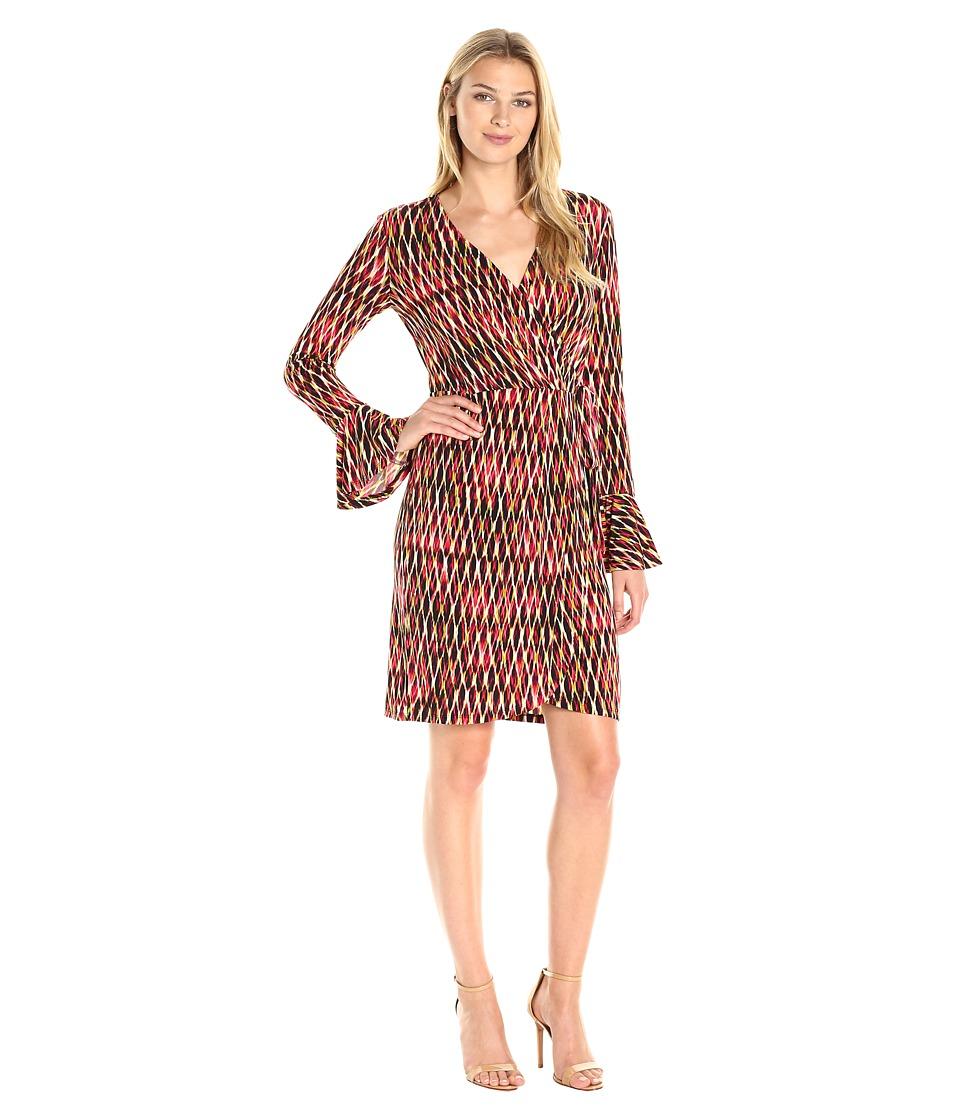 London Times Geo Wire Wrap Dress (Coral Multi) Women