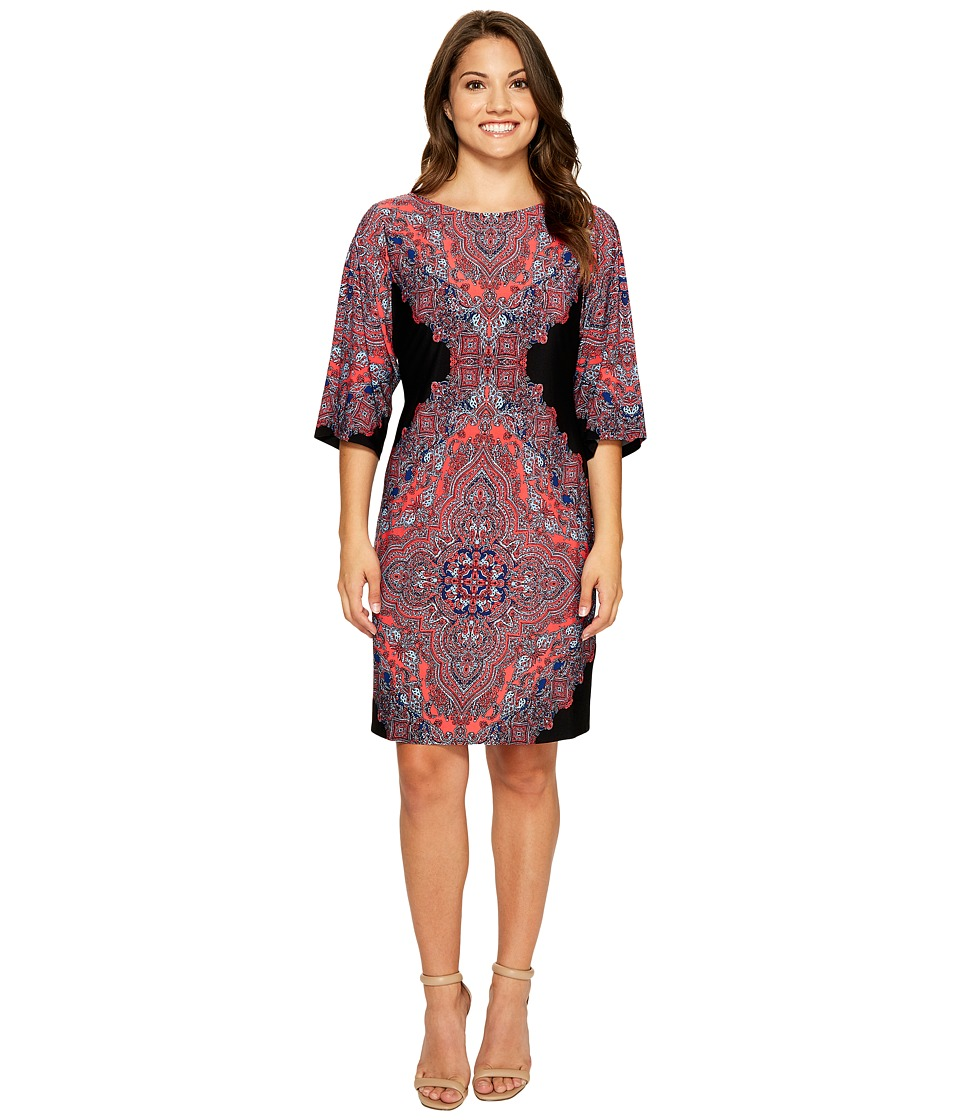 London Times Petite Persian Medallion Kimono Shift Dress (Black/Coral) Women