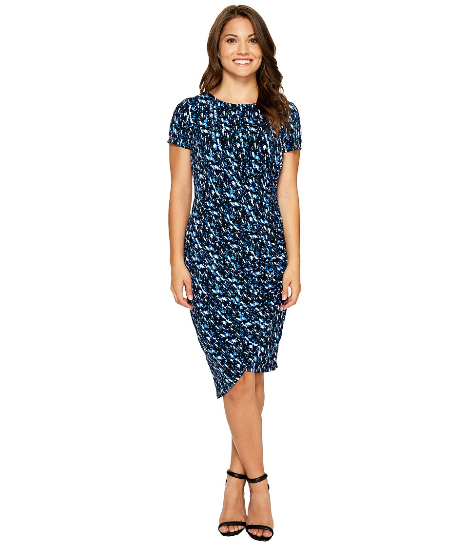 London Times Petite Abstract Fleece Side Ruched Sheath Dress (Blue) Women