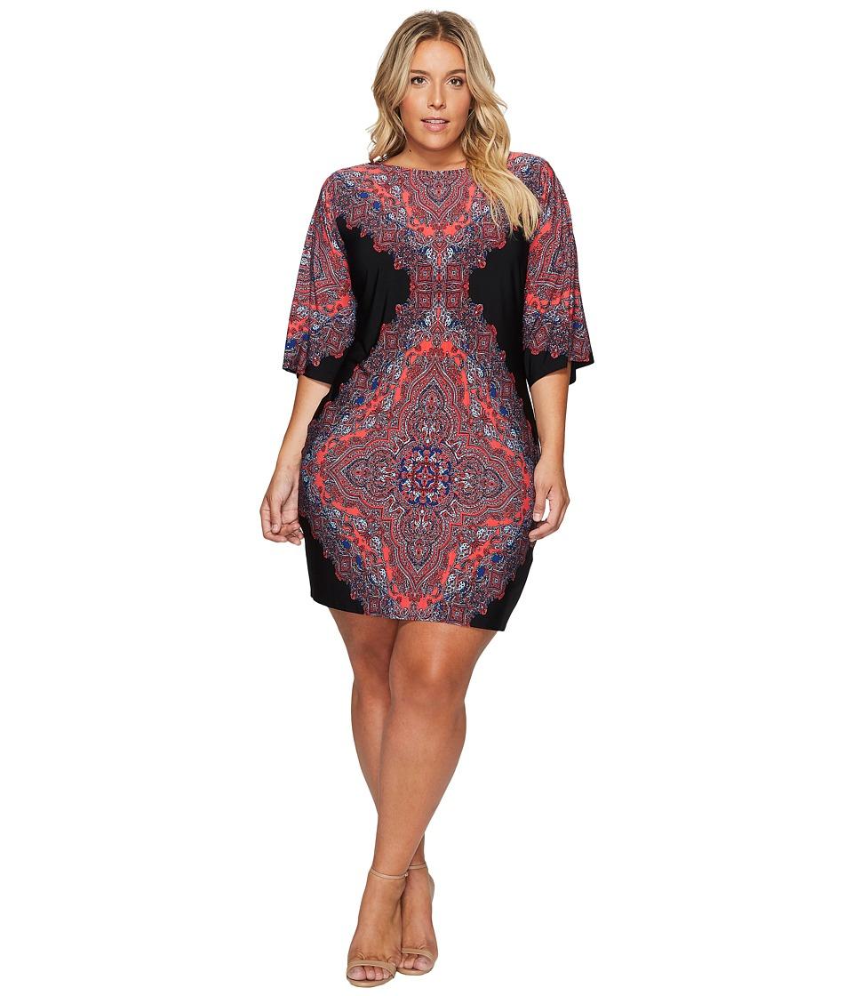 London Times - Plus Size Persian Medallion Kimono Shift Dress (Black/Coral) Women's Dress