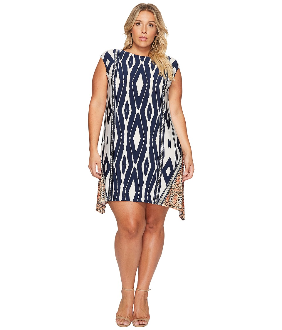 London Times - Plus Size Animal Stripe Jersey Shift Dress (Navy/Orange) Women's Dress