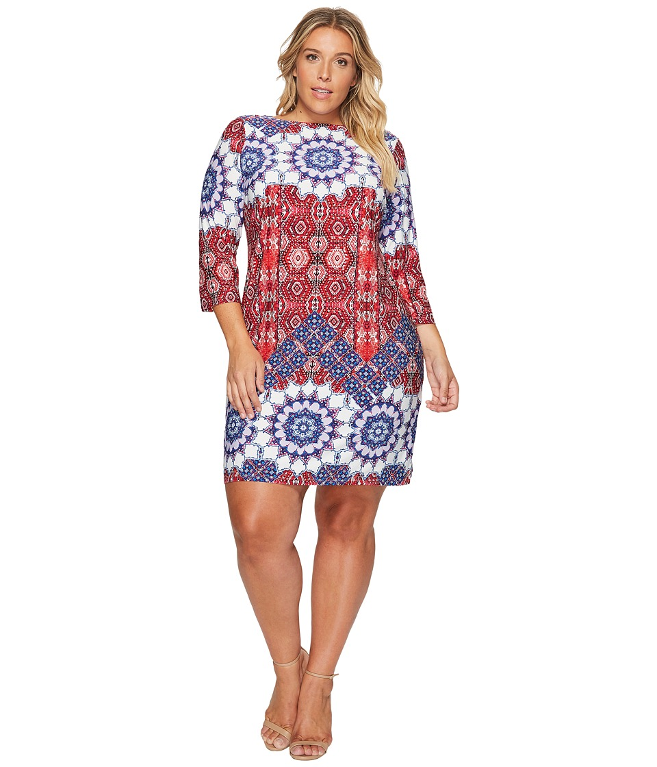 London Times - Plus Size Imperial Tile 3/4 Sleeve Shift Dress (Coral/Multi) Women's Dress