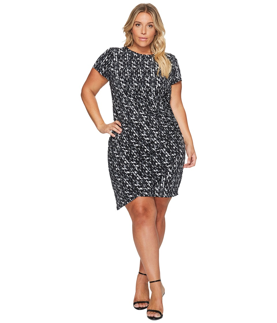 London Times Plus Size Abstract Flece Side Ruched Sheath Dress (Gray) Women
