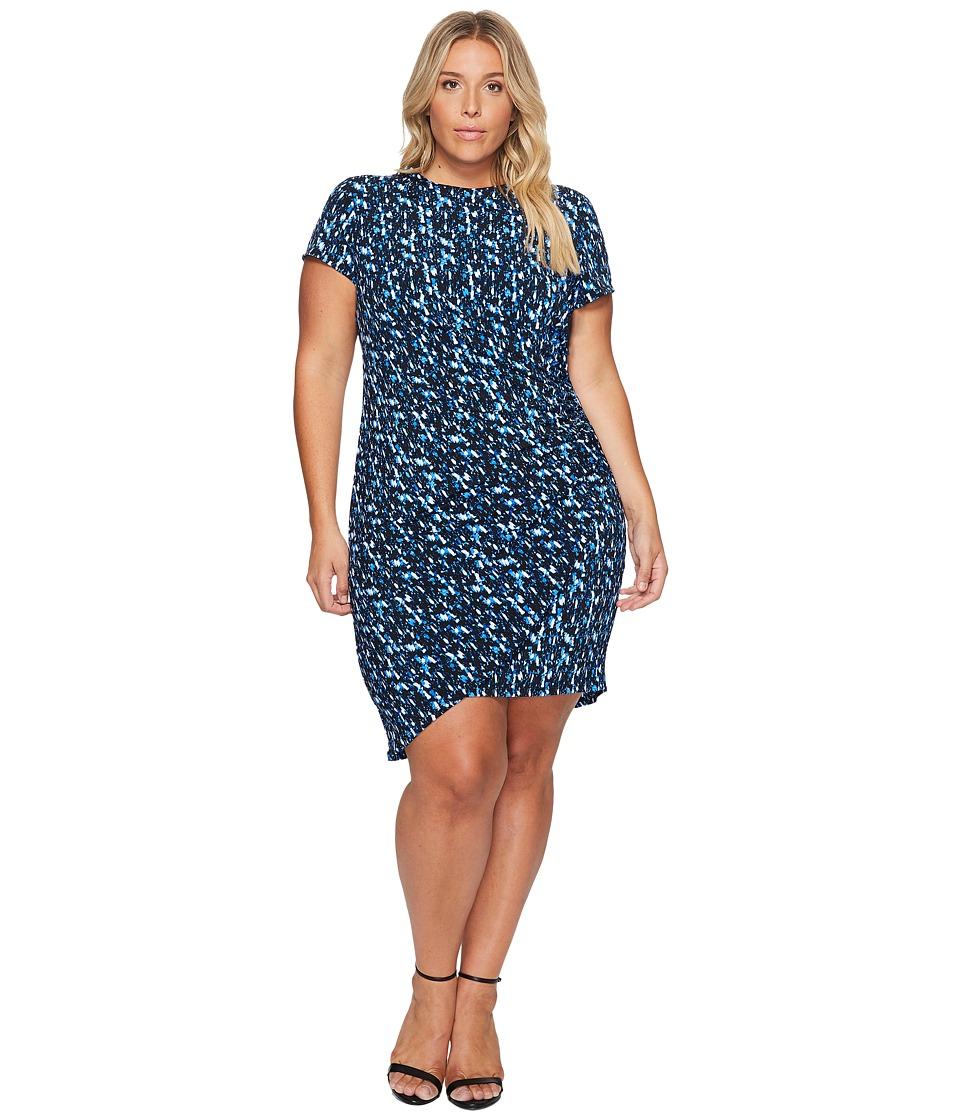 London Times - Plus Size Abstract Flece Side Ruched Sheath Dress (Blue) Women's Dress
