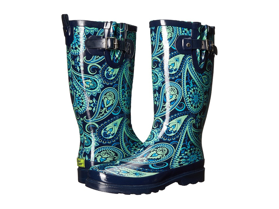 Western Chief - Wild Paisley (Teal) Women's Rain Boots