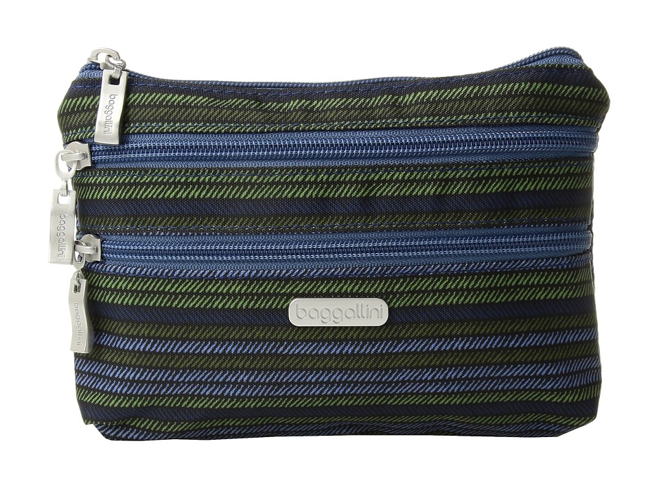 Baggallini 3 Zip Cosmetic Case (Moss Stripe) Cosmetic Case