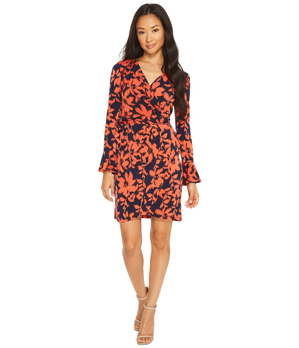 London Times Petite Pozie Print Bell Sleeve Wrap Dress (Navy/Coral) Women