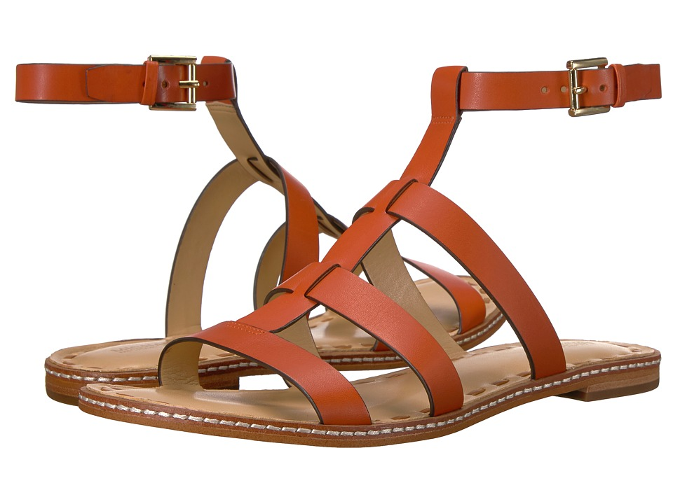 MICHAEL Michael Kors - Fallon Flat Sandal (Orange/Acorn) Women's Sandals