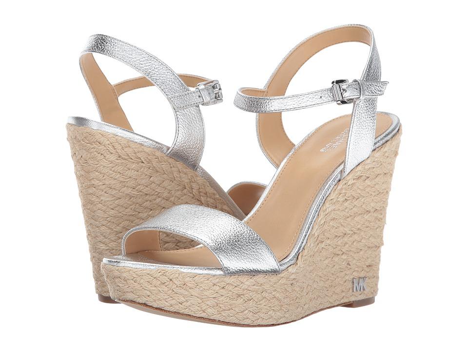MICHAEL Michael Kors - Jill Wedge (Silver) Women's Wedge Shoes