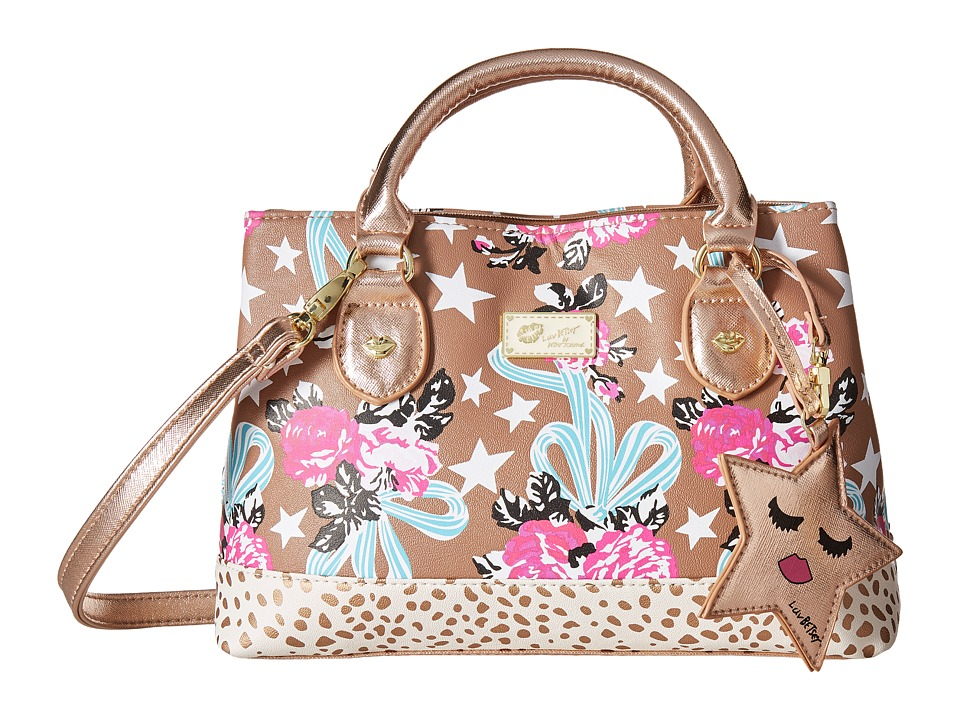 Luv Betsey - Candi Petite Triple Compartment Satchel (Taupe/Turquoise) Satchel Handbags