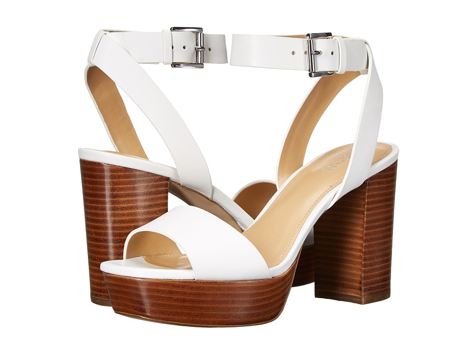 MICHAEL Michael Kors - Leonora Ankle Strap (Optic White) Women's Wedge Shoes