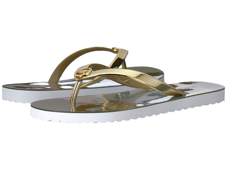 MICHAEL Michael Kors - MK Flip-Flop Shiny (Pale Gold/Silver/Gold) Women's Sandals