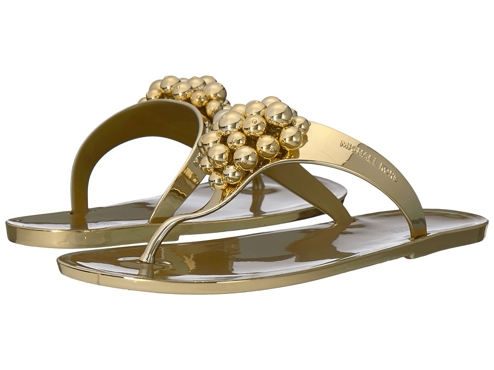 MICHAEL Michael Kors - Kirby Jelly Thong (Gold) Women's Sandals
