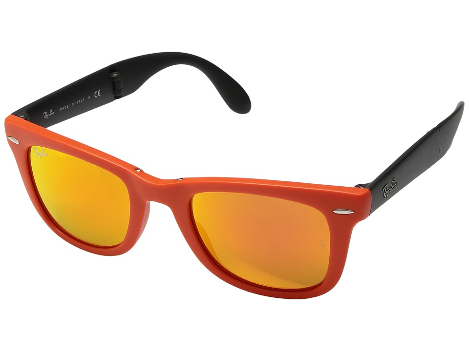Ray-Ban - ORB4105 Folding Wayfarer (Matte Orange) Fashion Sunglasses