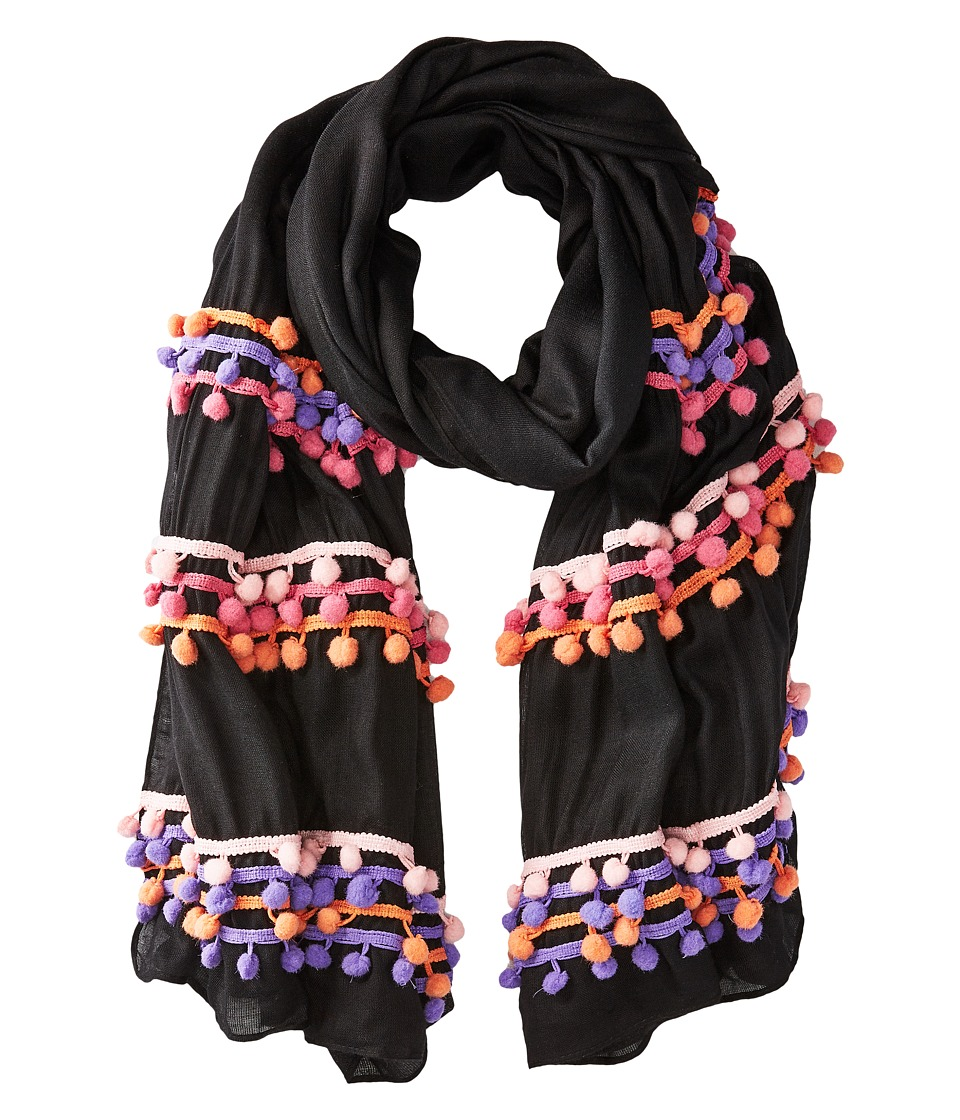 Bindya - Three Layer Pom Pom Scarf (Black/Pink) Scarves