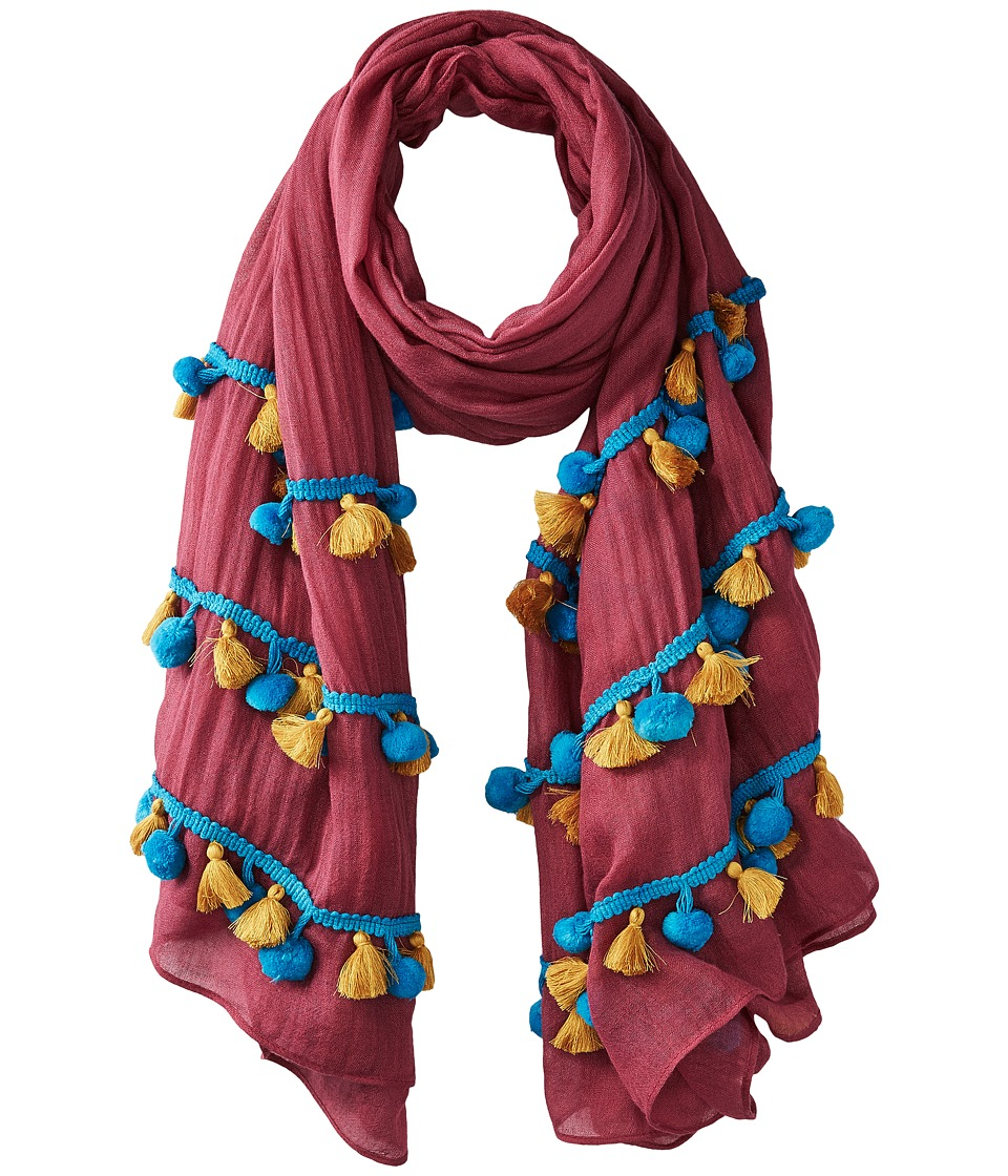 Bindya - Pom Pom Tassel Mix Scarf (Burgundy) Scarves