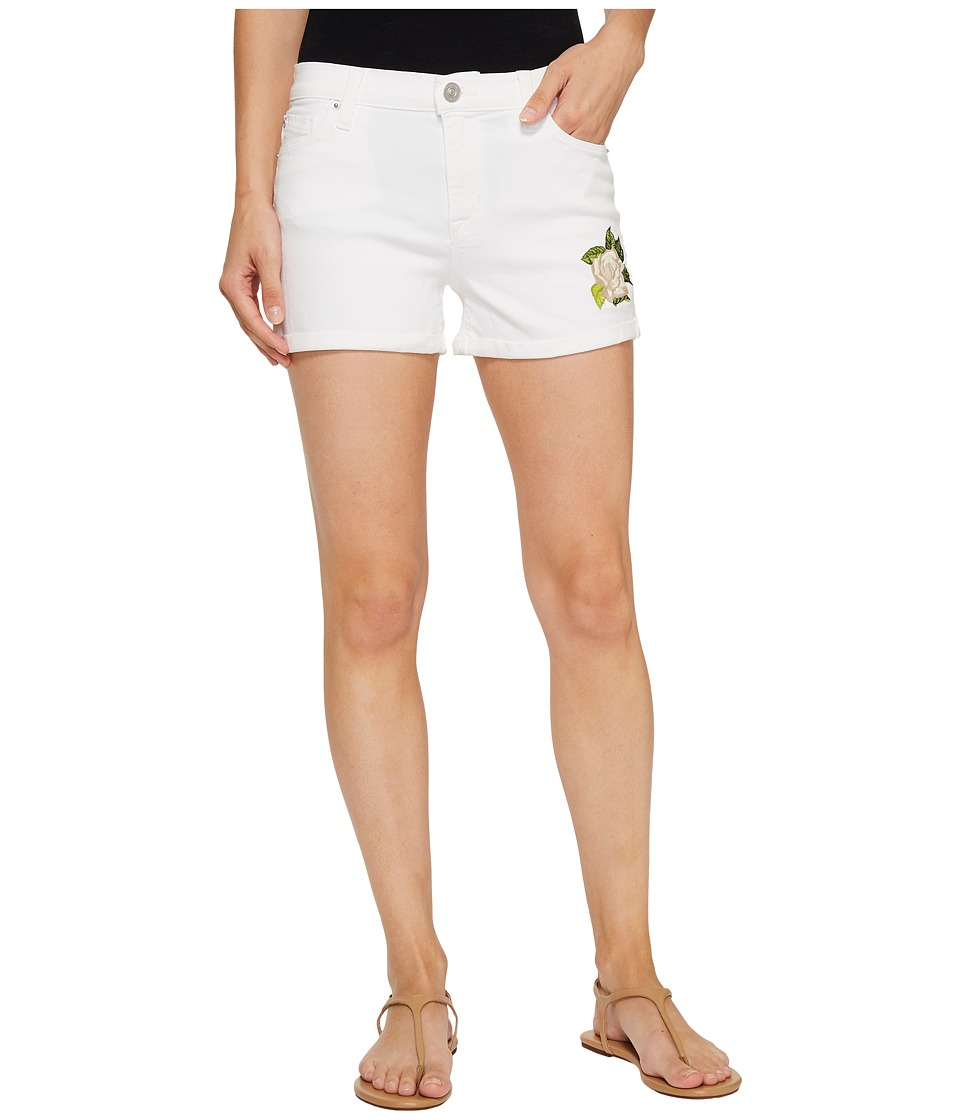 Hudson - Asha Mid-Rise Cuffed Shorts in Embroidery Floral White (Embroidery Floral White) Women's Shorts