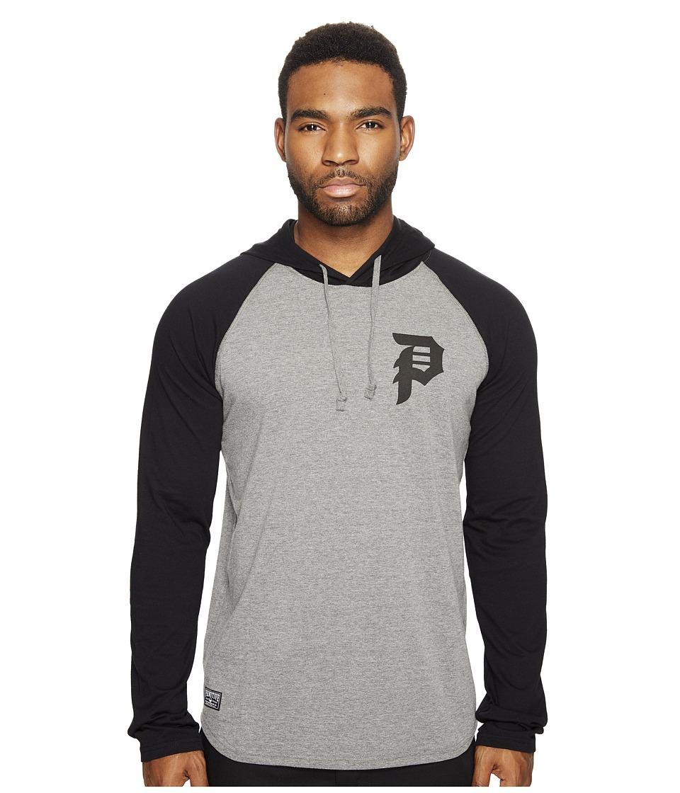 Primitive - Dirty P Raglan Hoodie (Grey Heather) Men's Sweatshirt