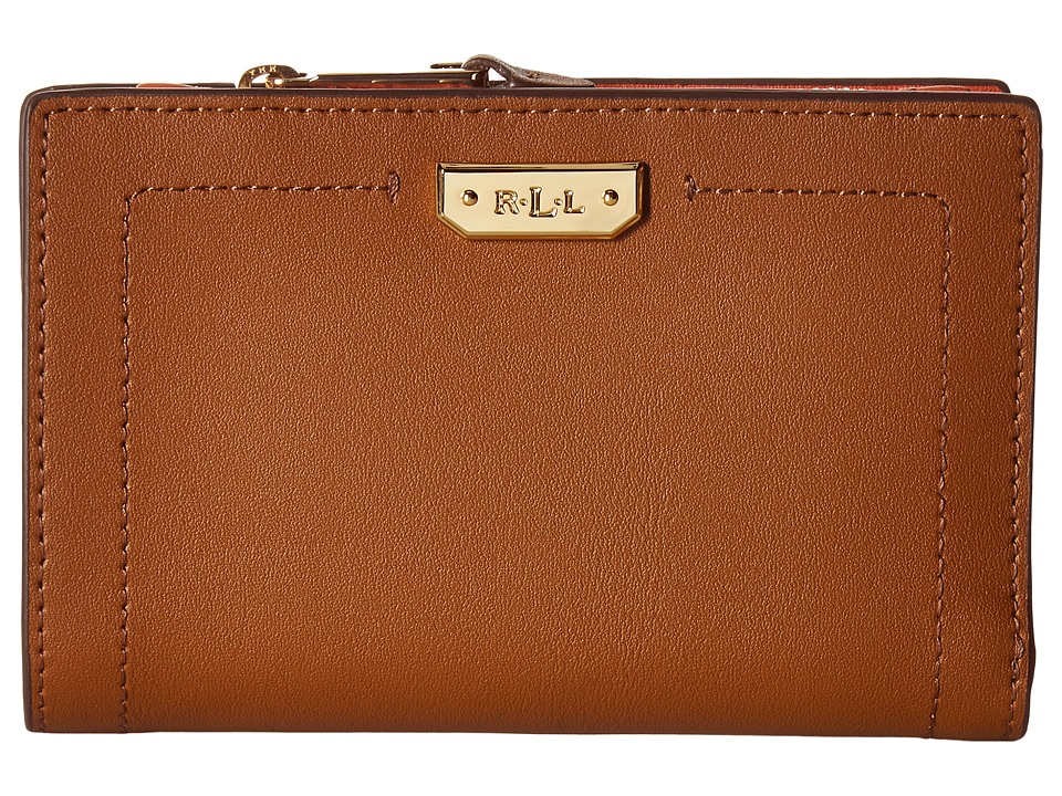 LAUREN Ralph Lauren - Dryden New Compact Wallet (Field Brown/Monarch Orange) Wallet Handbags