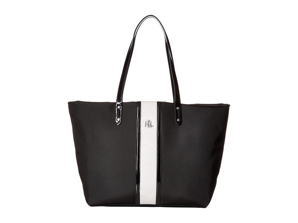 LAUREN Ralph Lauren - Bainbridge Tote Medium (Black/White) Tote Handbags