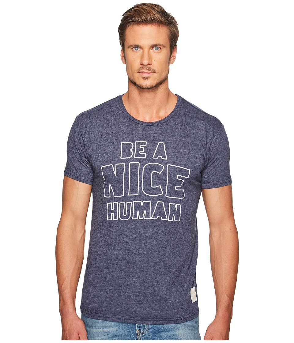 The Original Retro Brand - Be A Nice Human Short Sleeve Tri-Blend Tee (Streaky Navy) Men's T Shirt