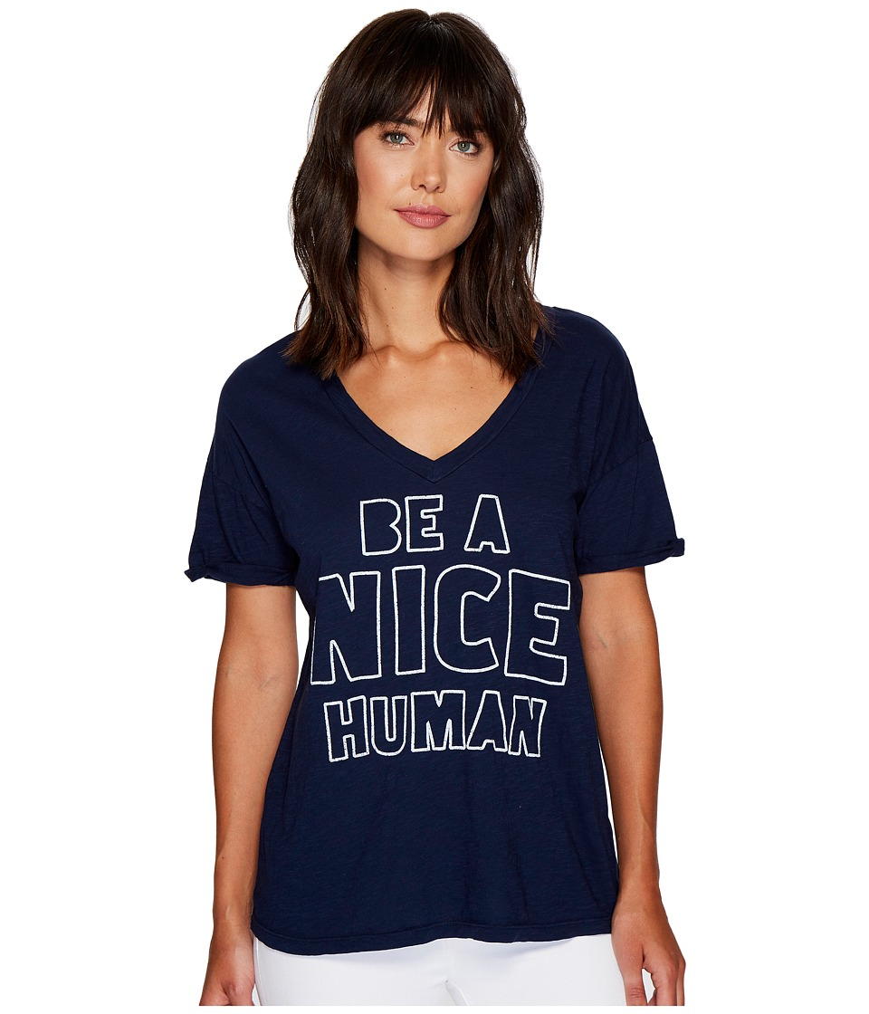 The Original Retro Brand Be A Nice Human Rolled Sleeve Slub V-Neck (Navy) Women