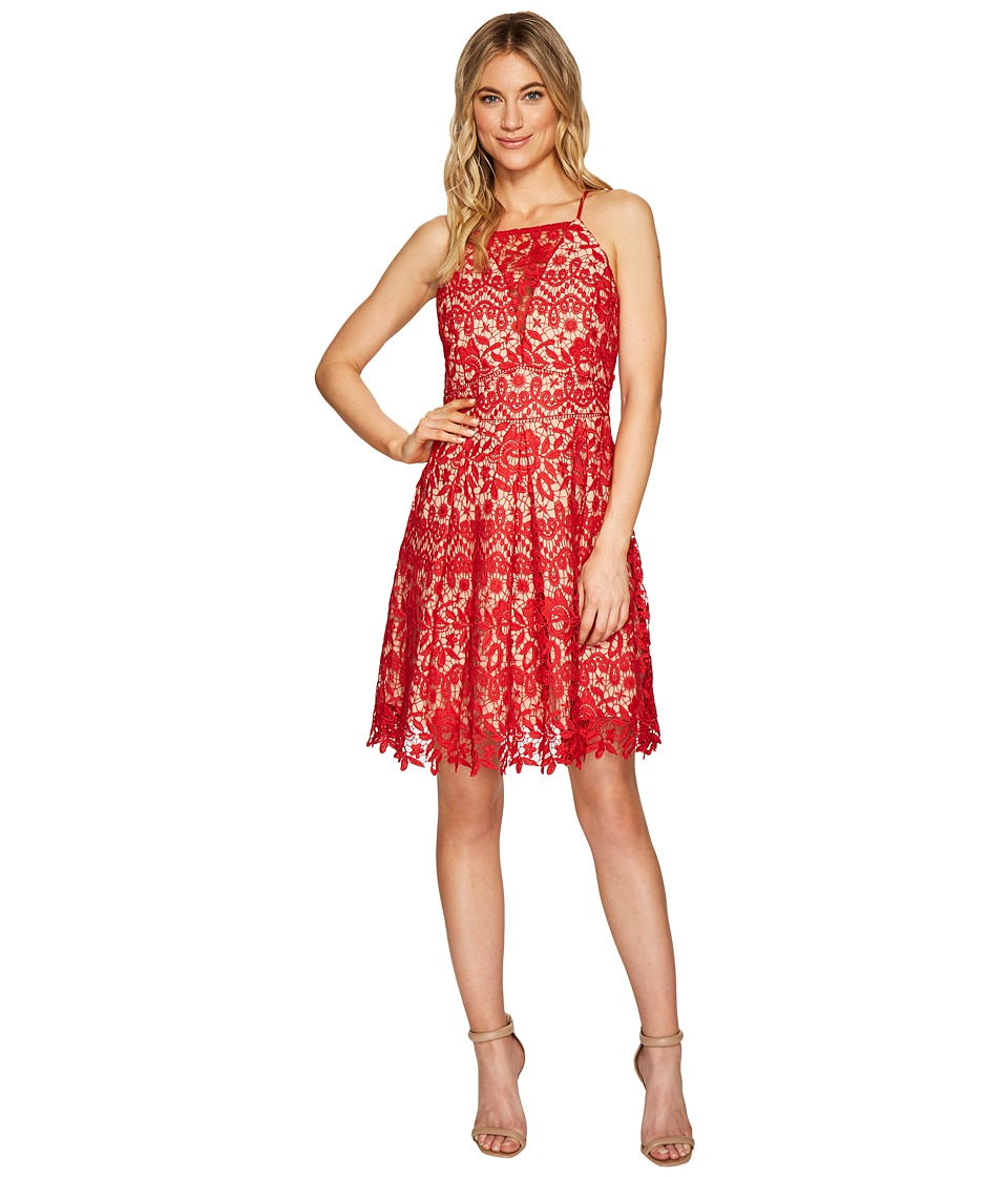 Adelyn Rae Krista Fit Flare Dress (Red/Nude) Women