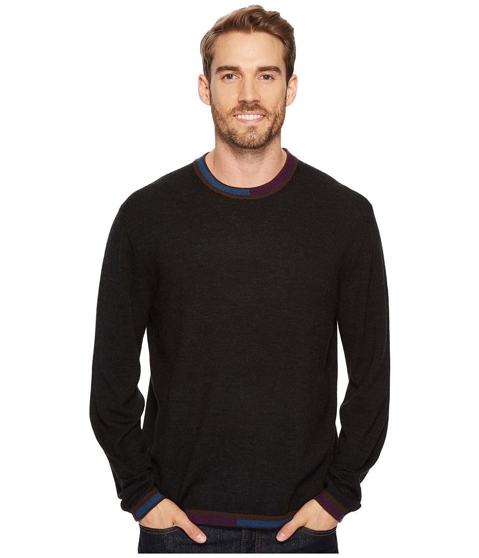 Robert Graham Cooperstown Long Sleeve Sweater Crew Neck (Black) Men