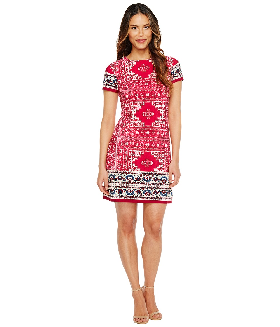London Times Moroccan Palace Short Sleeve Shift Dress (Wine) Women