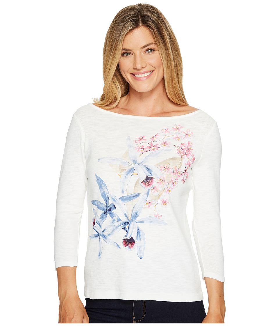Tommy Bahama - Orchid You Not 3/4 Sleeve Tee (French Creme) Women's T Shirt