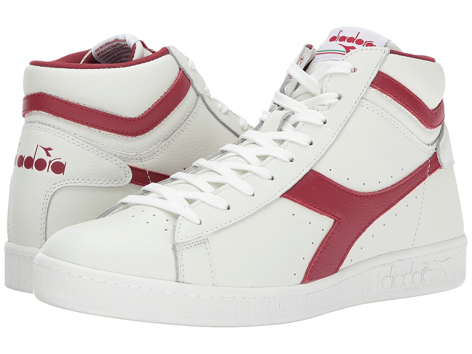 Diadora Game L High Waxed (White/Chili Peppers/White) Athletic Shoes