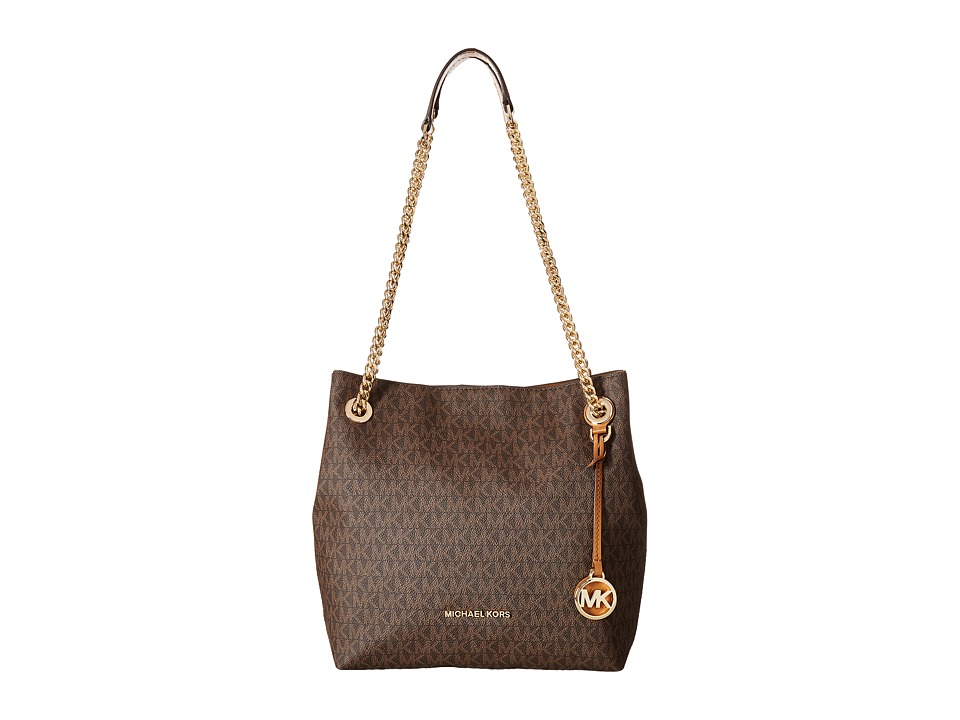 MICHAEL Michael Kors - Jet Set Chain Medium Shoulder Tote (Brown) Tote Handbags