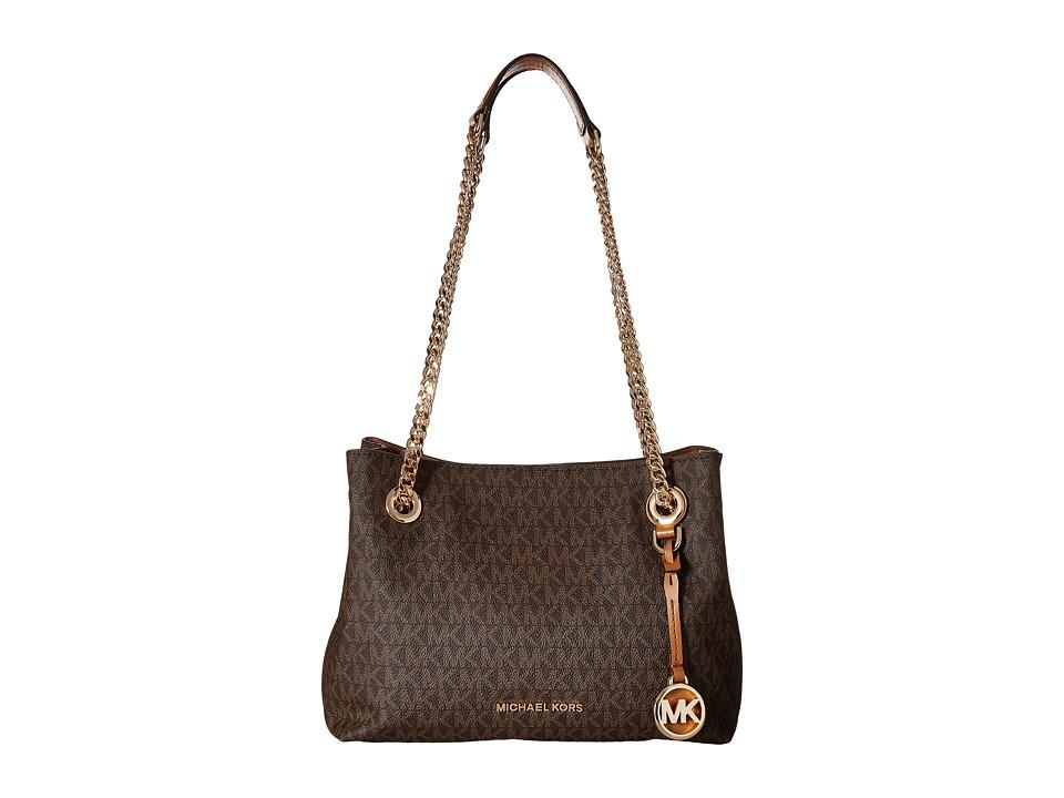 MICHAEL Michael Kors - Jet Set Chain Medium Messenger (Brown) Messenger Bags
