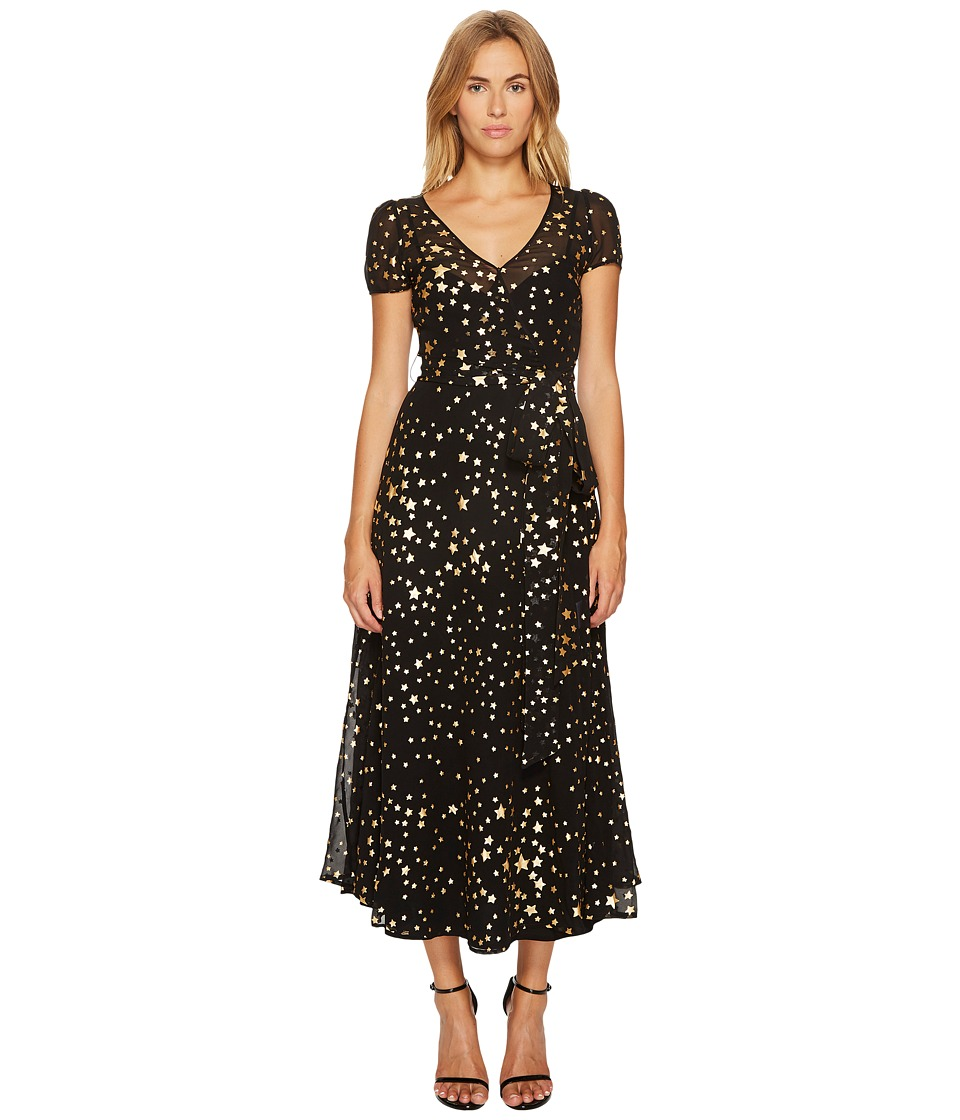 RED VALENTINO Lame Stars Print, Silk Georgette Dress (Black) Women