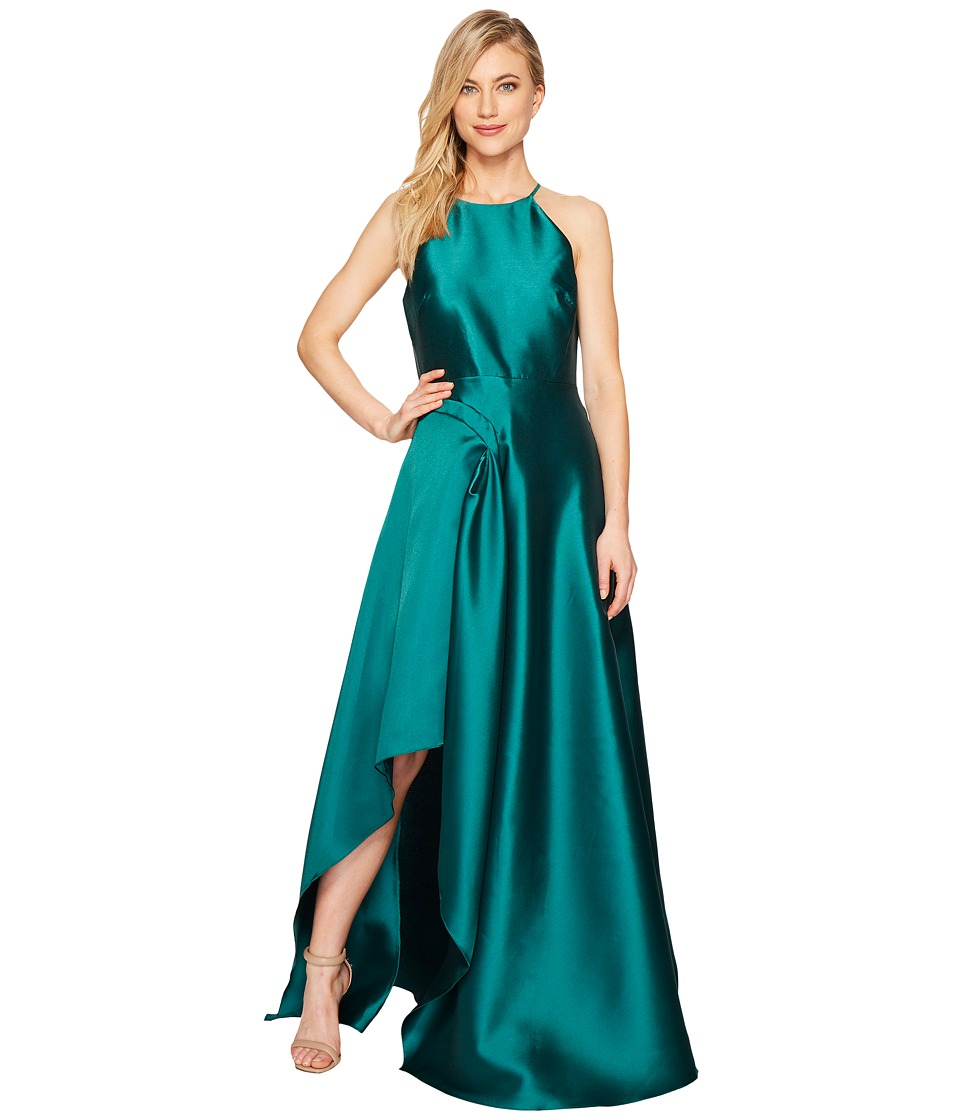 Badgley Mischka Racer Sculptural Deep Teal Dress