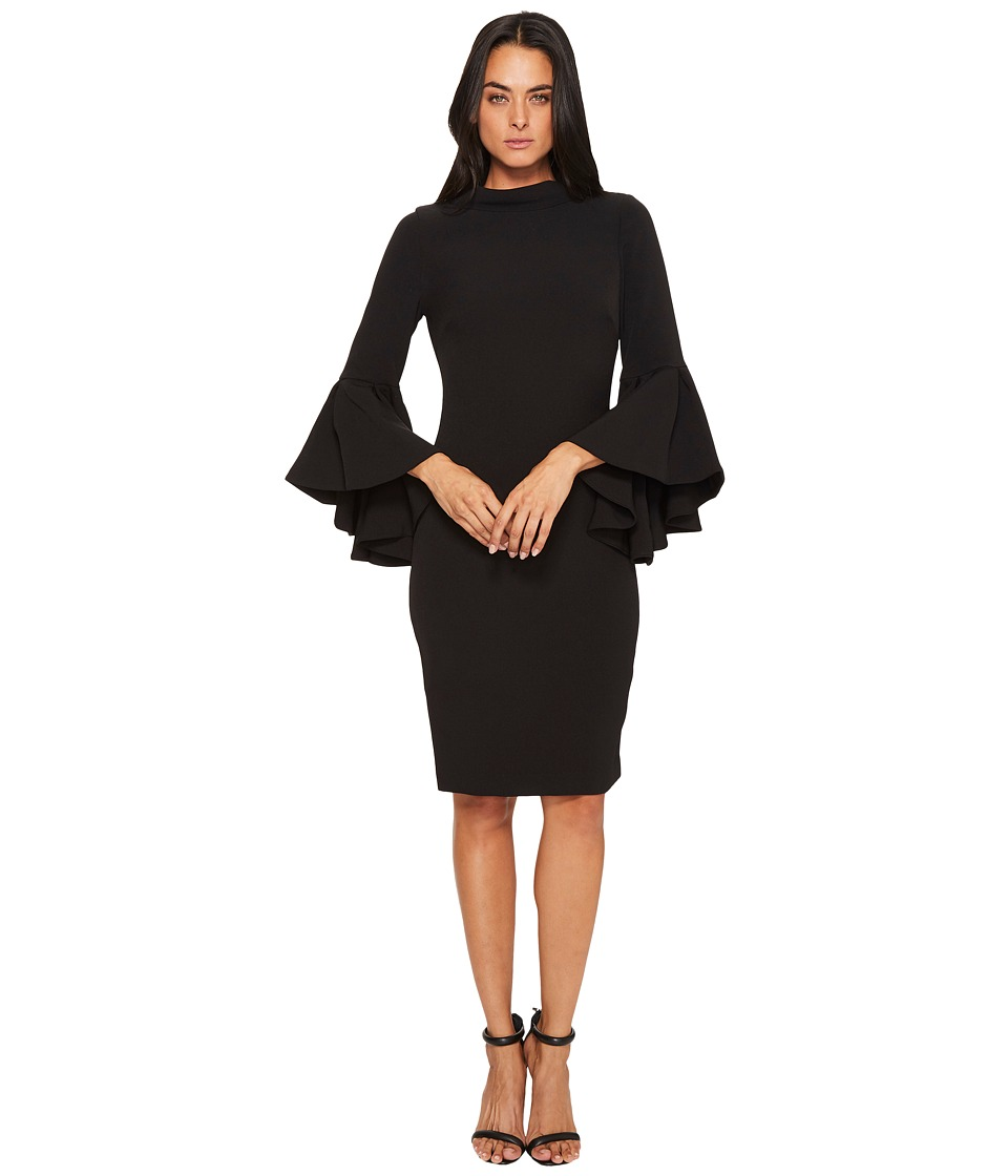 Badgley Mischka - Flare Sleeve Roll Collar Dress (Black) Women's Dress