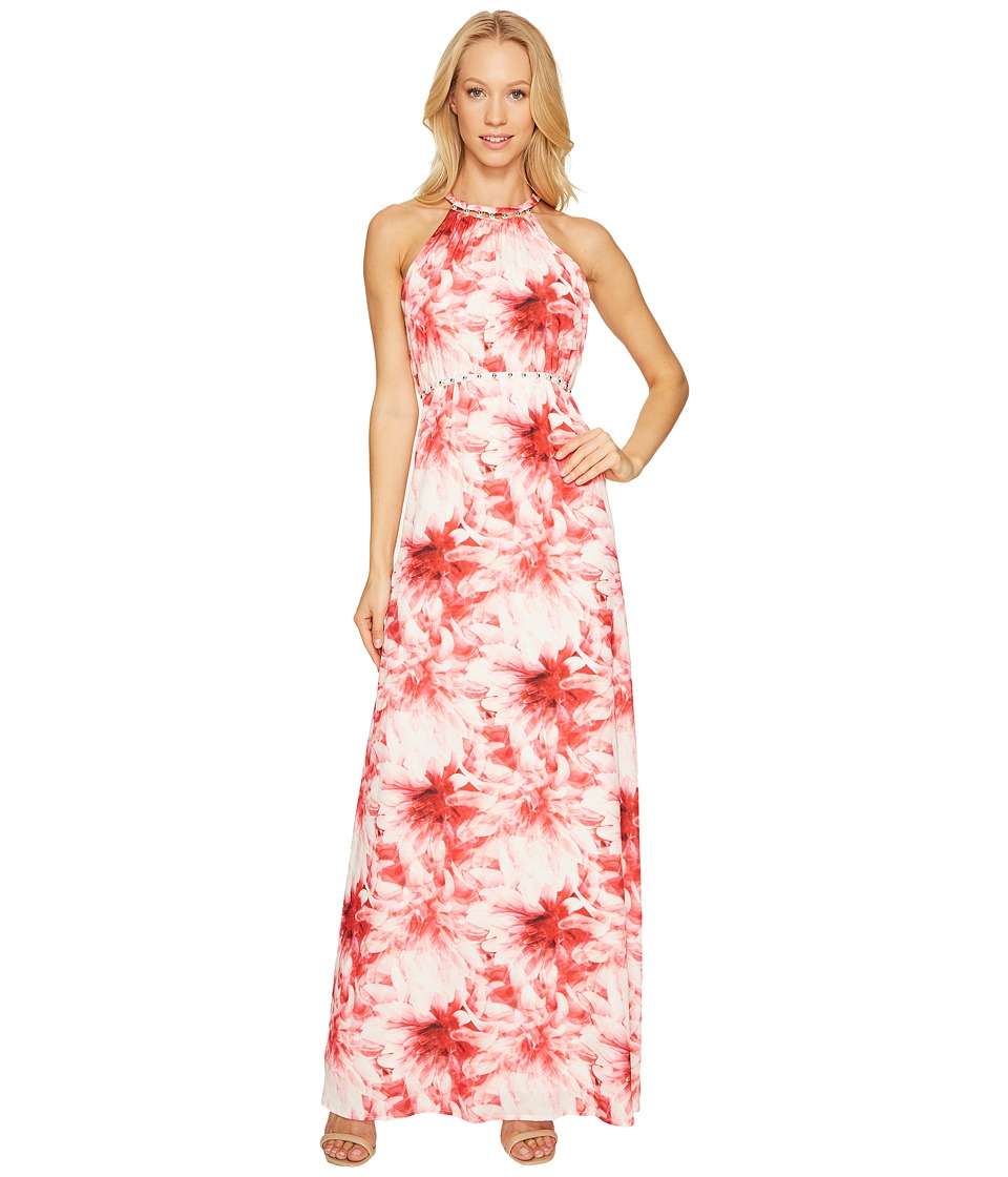 Tahari by ASL - Maxi Floral Print Dress (Rosy/Desert Coral) Women's Dress