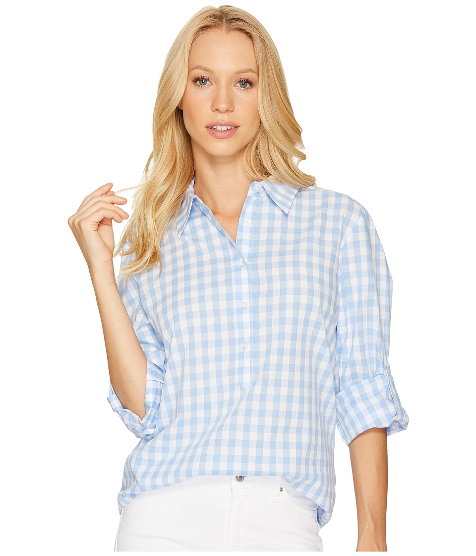 Tahari by ASL - Check Long Sleeve Shirt (Sky/Ivory) Women's Blouse