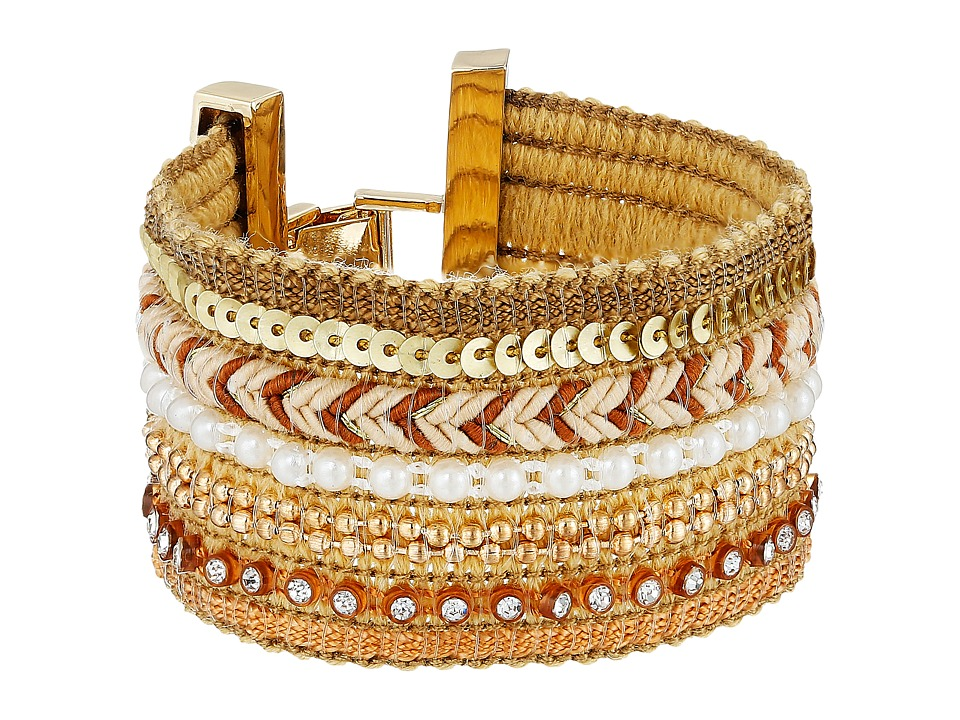 GUESS - Wide Mixed Media Chain Luxe Bracelet (Gold/Cream Pearl) Bracelet