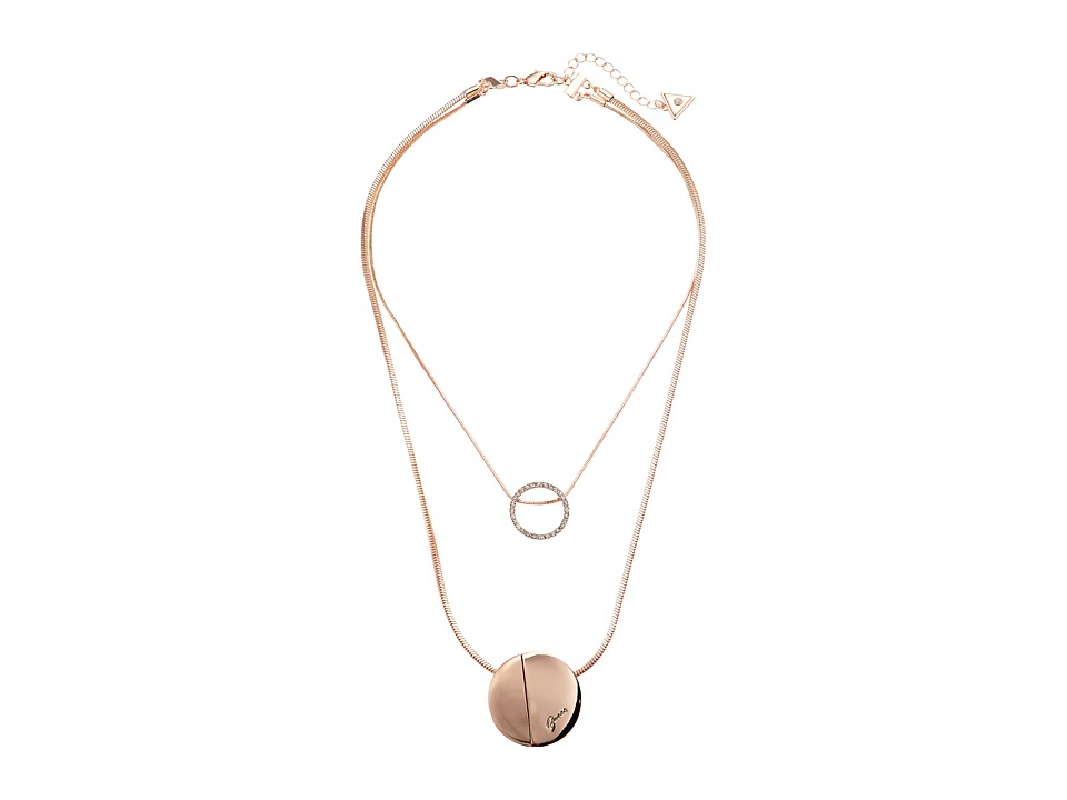 GUESS - Two Row Necklace with Disc Pendants (Rose Gold/Matte Gold) Necklace